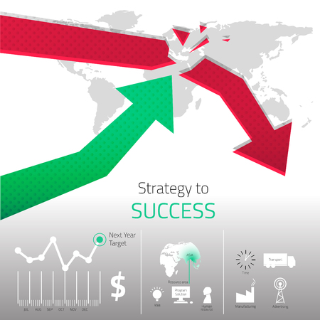 The design of strategy to success with object detail. create by vector file Ilustração