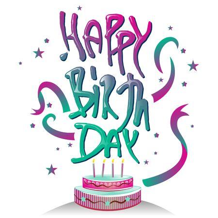 happy birth day: Happy Birth Day Typography symbol with cake design.