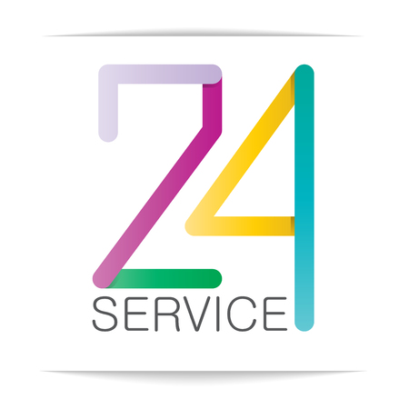 numbering: 24 hours service design with colorful numbering. create file by vector Illustration