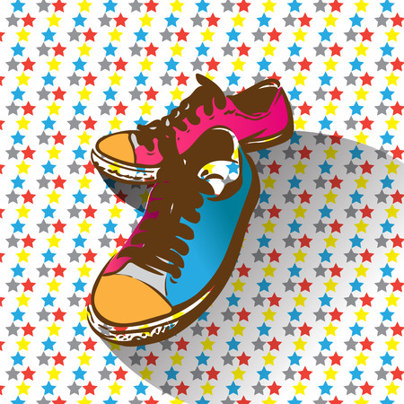 warhol: Shoes with retro and pop art style. create by vector file