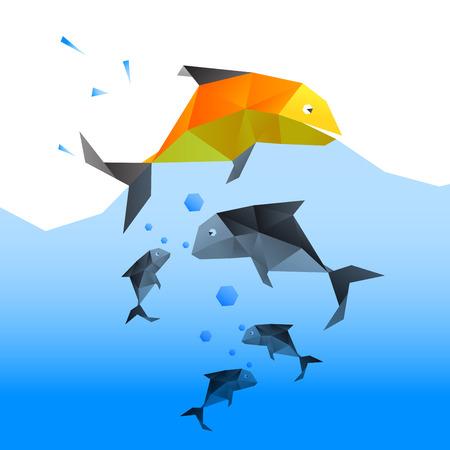 물고기는 다른 물고기보다 뛰어 오른다. 도전의 승리에 대한 현재의 개념. 벡터 파일로 만들다. 일러스트