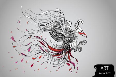 Die visuelle Linie Kunst von Fantasievogel. Vektor-Datei. ein wenig warmes Rot und rosa Ton. Kampf bewegende und Springen Konzept. Beste Verwendung für T-Shirt, Tätowierung, Aufkleber Dekoration