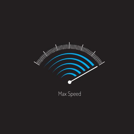 記号最大速度計。青と白のグレー色。通信が簡単です。ベクター ファイル