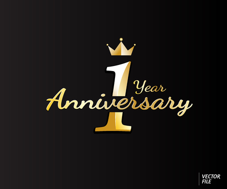 One year anniversary logo design suitable use for logo card