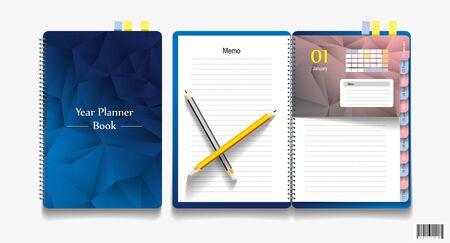note book: Note book, note papers and pencil, Business working elements for web design. vector file
