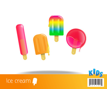 sweet sauce: collection of ice cream. sweet fun and fresh. vector file Illustration