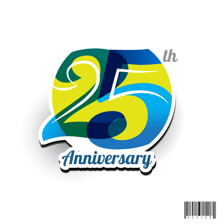 25 주년 기념 기호 디자인입니다. 벡터 파일 일러스트