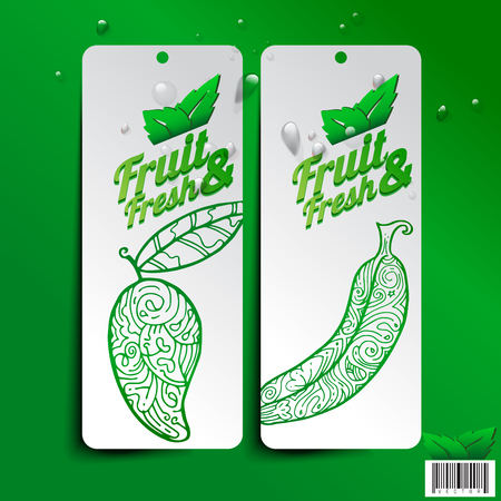sticker design: Fruit and Fresh design on tag with art of hand drawn style. vector file