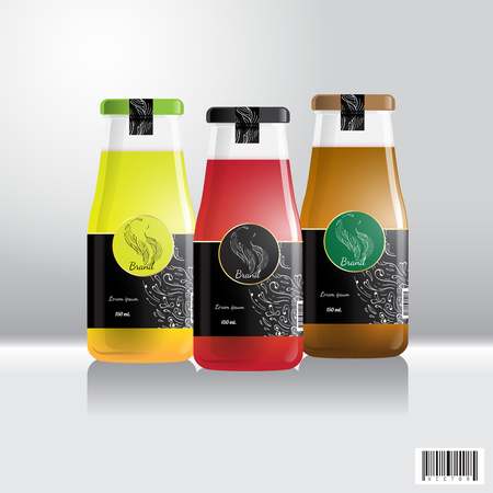 음료, 주스에 대 한 레이블 및 병 디자인입니다. 음료 산업에 적합합니다. 벡터 파일
