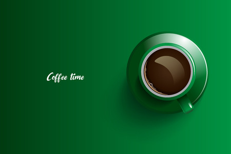 Coffee time design over green background, vector illustration.