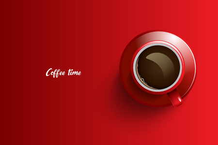 Coffee time design over red background, vector illustration.