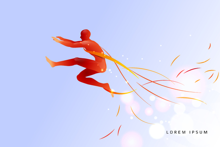 Jumping man with line art concept. vector file