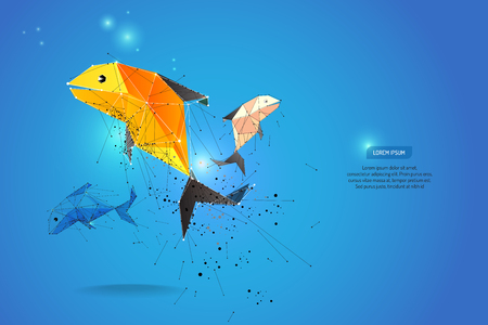 fish illustration: abstract motion background. dot line design. fish and zodiac concept. vector illustration