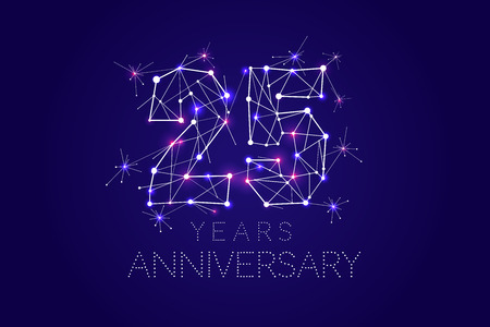 25 years Anniversary design. Abstract form with connected lines and light dots. Vector Illustration