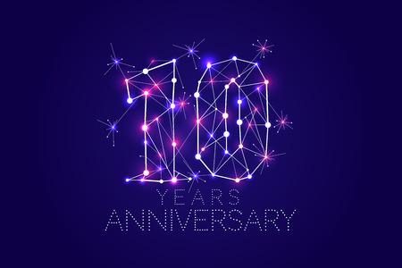 10 주년 기념 디자인. 연결 된 선과 밝은 점이있는 추상 양식. 벡터 일러스트 레이션 일러스트