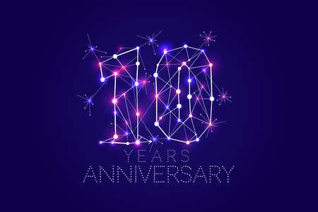 10 years Anniversary design. Abstract form with connected lines and light dots. Vector Illustration