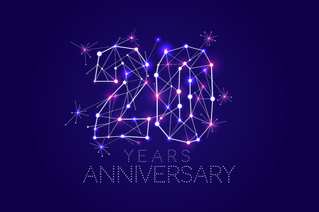 20 years Anniversary design. Abstract form with connected lines and light dots. Vector Illustration