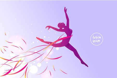 The motion of ballet. silhouette of a jumping girl. suitable use for sport and action. vector illustration