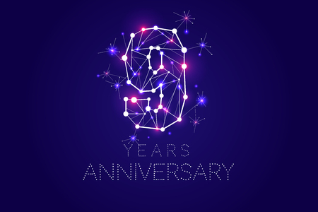 9 years Anniversary design. Abstract form with connected lines and light dots. Vector Illustration