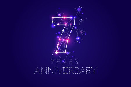 7 years Anniversary design. Abstract form with connected lines and light dots. Vector Illustration