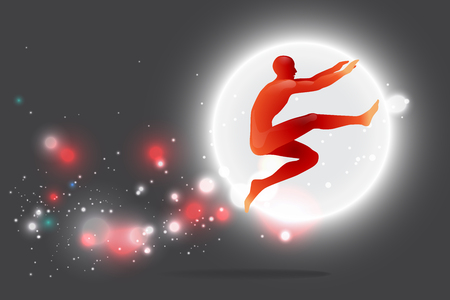 The motion of human. silhouette of a jumping. suitable use for sport and action. vector illustration