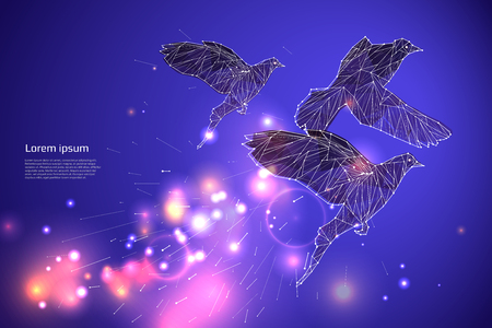 The bird flying with motion and effect. line dot design. vector illustration Ilustrace