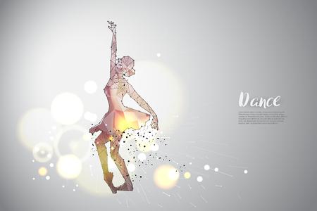 Danse de ballet avec design en ligne. Utilisation appropriée pour le logo, l'affiche, la bannière, l'invitation ou le modèle de conception de carte de voeux. Illustration vectorielle