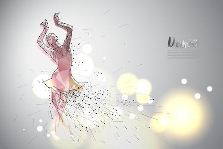 Danse de ballet avec design en ligne. Utilisation appropriée pour le logo, l'affiche, la bannière, l'invitation ou le modèle de conception de carte de voeux. Illustration vectorielle Logo