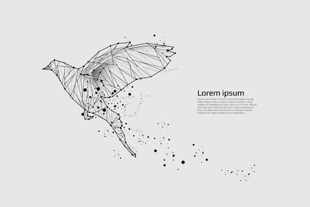 El pájaro que vuela con movimiento y efecto. diseño del punto de la línea. Ilustración vectorial Foto de archivo - 78676099
