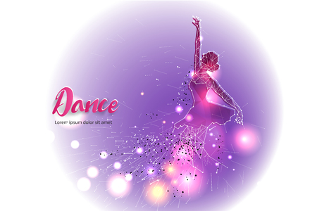 Ballet dance with line dot design.  suitable use for logo, poster, banner, invitation.