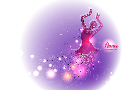 Ballet dance with line dot design.  suitable use for logo, poster, banner, invitation, or greeting card design template. vector illustration