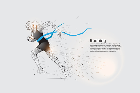 Running man. Motion art line dot concept. Vector illustration Ilustrace