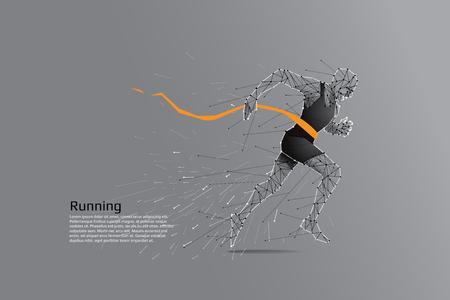 Hombre que corre. Concepto de punto de línea de arte de movimiento. Ilustración vectorial