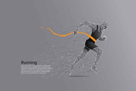 Rennende man. Motion kunst lijn punt concept. Vector illustratie Stock Illustratie