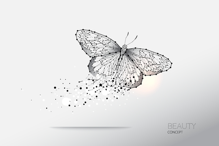 Abstract vector illustration of butterfly moving. starry night sky and line dot graphic design. concept of nature and art. Suitable use for background. - line stroke weight editable