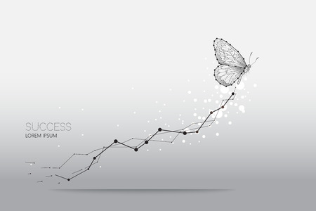 Abstract vector illustration of butterfly moving. starry night sky and line dot graphic design. concept of nature and business. - line stroke weight editable