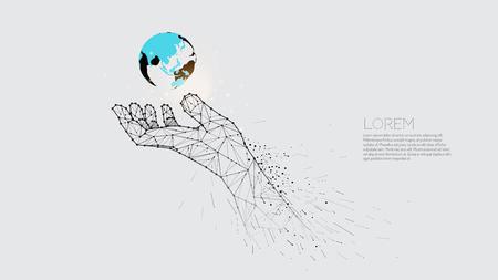 Hand, die Erde trägt. Vektorgrafik