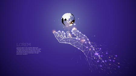 Hand carring under the world. Abstract vector illustration hand and motion. line dot graphic design. - line stroke weight editable