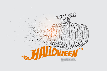 the particles geometric art line and dot of pumpkin graphic