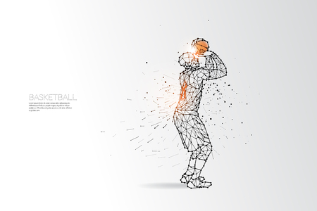 ball point: The particles, geometric art, line and dot of basketball shooting. abstract vector illustration.  graphic design concept of sport. - line stroke weight editable
