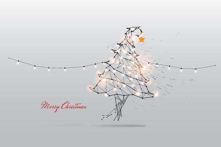Cząsteczki, grafika geometryczna, linia i kropka Wesołych Świąt.