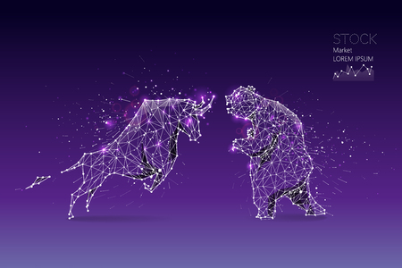The particles, geometric art, line and dot of bear and bull abstract. Graphic design concept of stock market. 일러스트