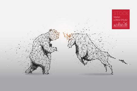 Cząsteczki, grafika geometryczna, linia i kropka niedźwiedzia i byka abstrakcyjne. Projekt graficzny koncepcji rynku akcji.