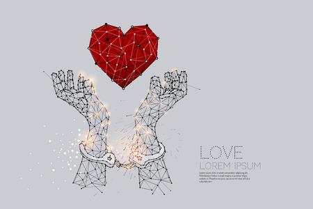 手錠を付けて手の粒子、幾何学的な芸術、線およびドット。 抽象ベクトルイラストレーション。 犯罪のグラフィックデザインコンセプト - 線ストロ  イラスト・ベクター素材