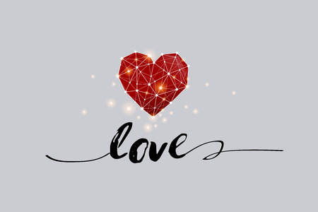 The particles, geometric art, line and dot of heart image.vector illustration. graphic design concept of Valentine and love- line stroke weight editable