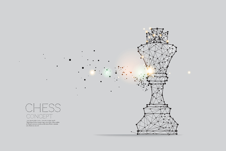 The particles, geometric art, line and dot of Chess.abstract vector illustration. graphic design concept of competition- line stroke weight editable Vectores