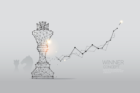 The particles, geometric art, line and dot of Chess. abstract vector illustration.  graphic design concept of competition - line stroke weight editable