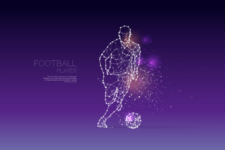 The particles and line dot of football player motion. Vector illustration.
