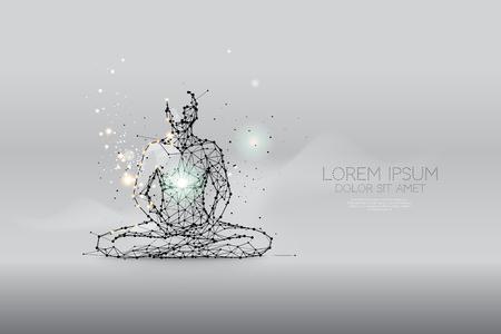 Las partículas, arte poligonal, geométrico - meditación ilustración vectorial abstracta. concepto de salud - trazo de línea editable