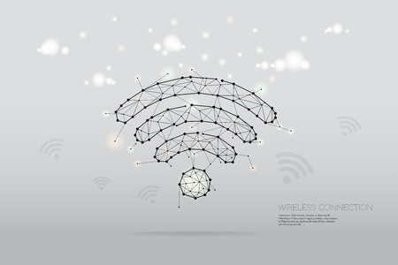 The particles, geometric art, line and dot of wireless symbol